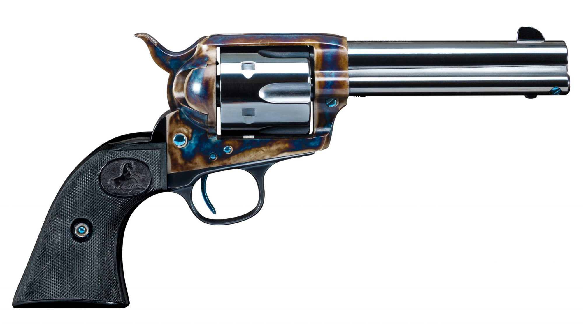 Photo of a restored Colt SAA, featuring color case hardening, charcoal bluing and nitre bluing by Turnbull Restoration