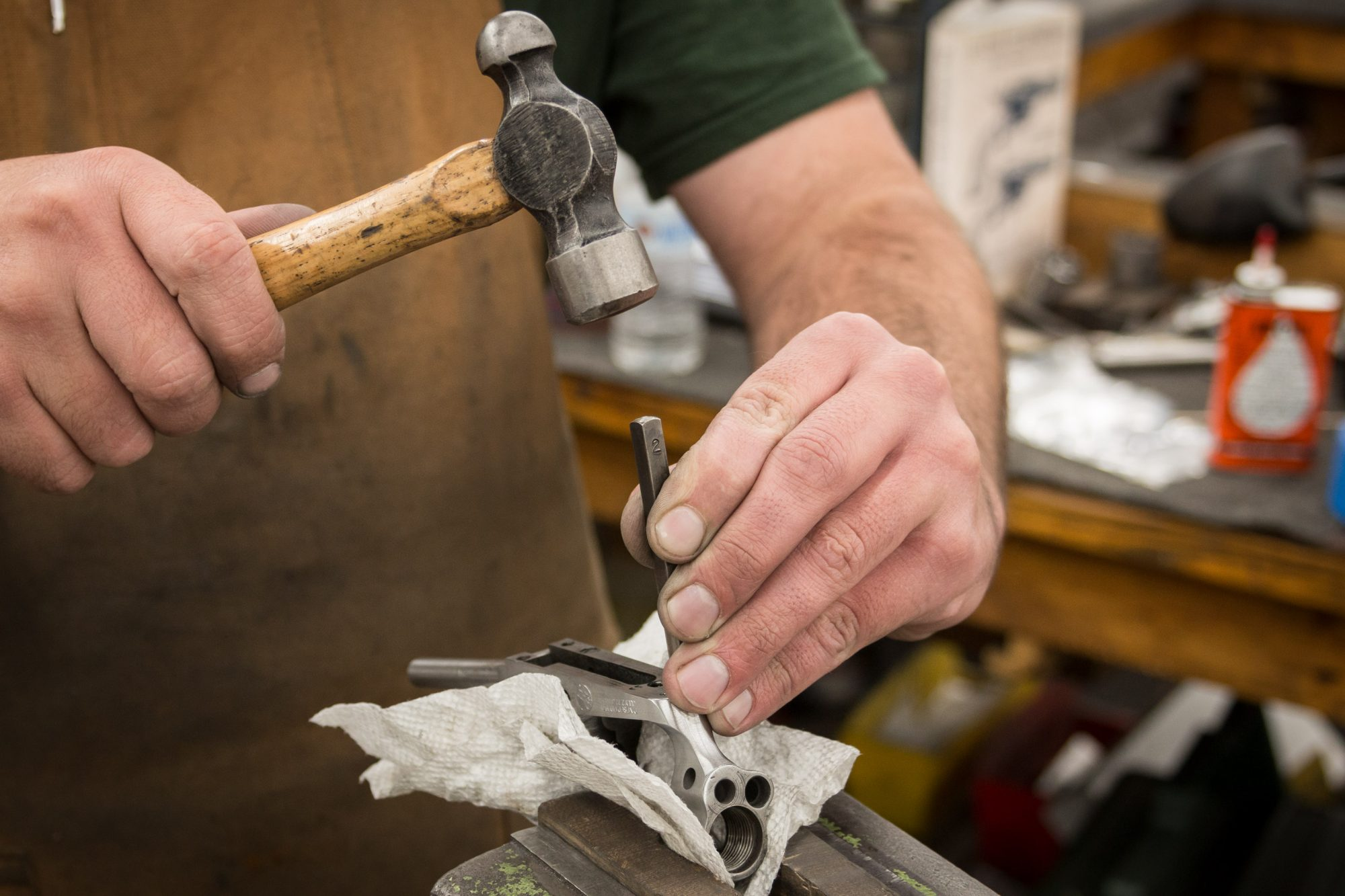 Photo of the stamping stage of a Colt SAA restoration in process, by Turnbull Restoration