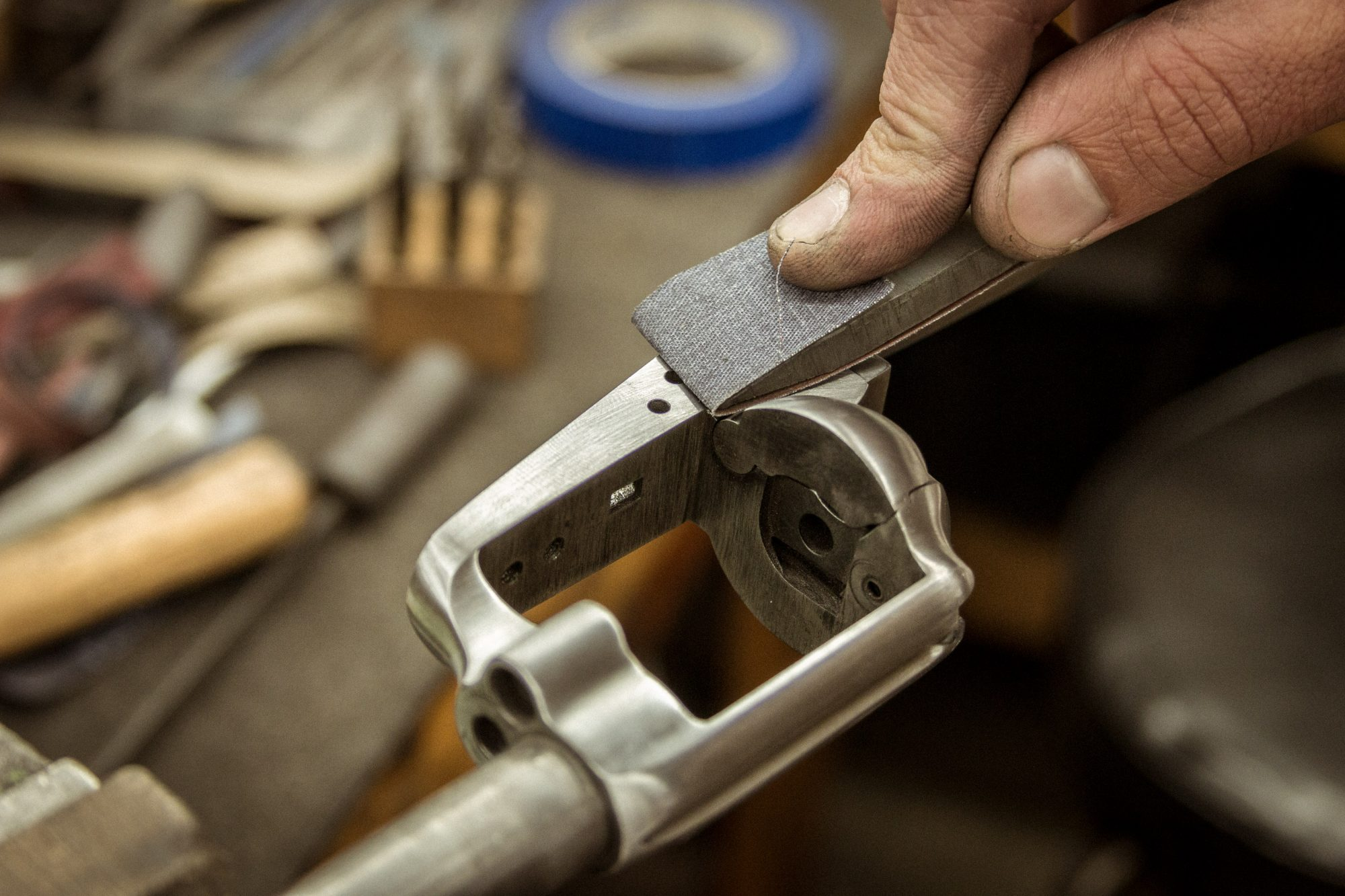 Photo of the polishing stage of a Colt SAA restoration in process, by Turnbull Restoration