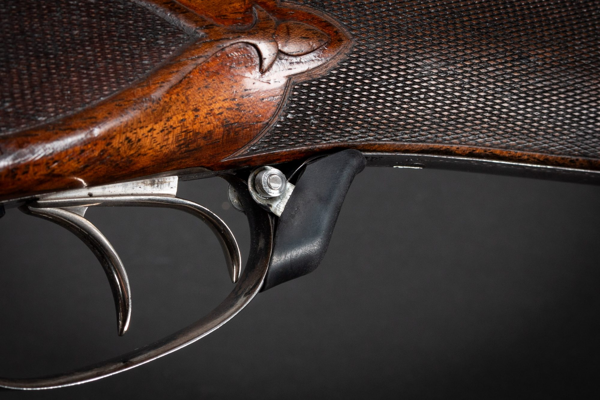 Photo of a pre-owned Parker BH 12 gauge side by side shotgun, being sold as-is by Turnbull Restoration of Bloomfield, New York