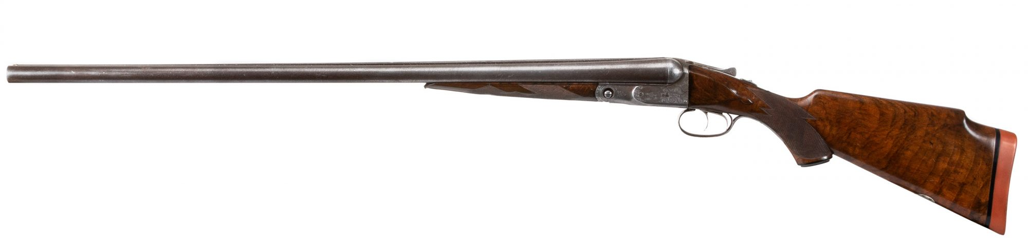 Photo of a pre-owned Parker DH 12 gauge side by side shotgun, being sold as-is by Turnbull Restoration of Bloomfield, New York