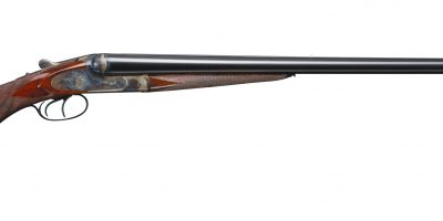 Photo of a Francotte Belgian 12 gauge side by side shotgun after restoration performed by Turnbull Restoration