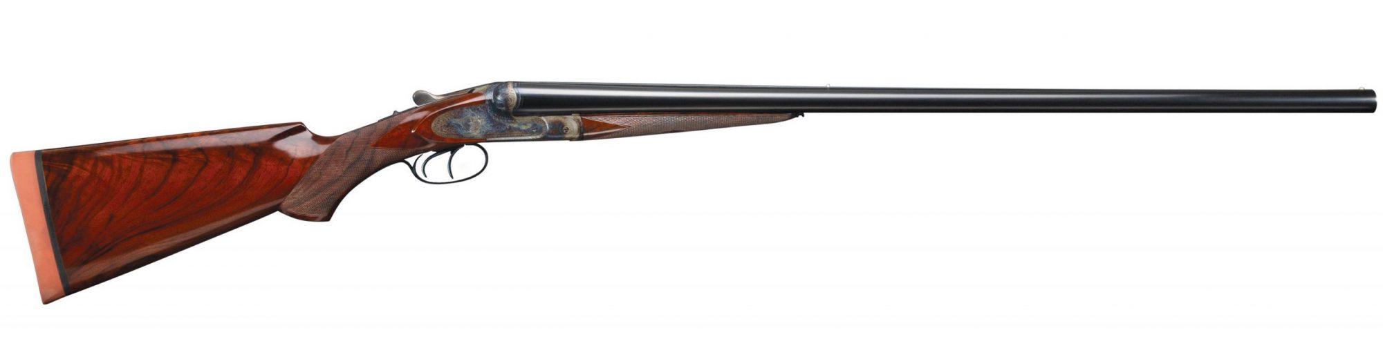 Photo of a Francotte Belgian 12 gauge side by side shotgun after restoration performed by Turnbull Restoration