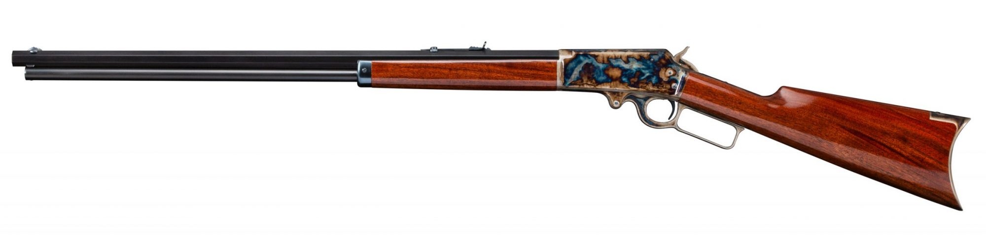Photo of a restored Marlin Model 1893, featuring bone charcoal color case hardening, by Turnbull Restoration of Bloomfield, NY