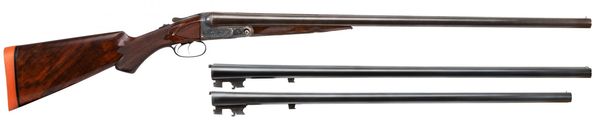 Photo of antique shotgun, Parker A Grade from 1892, color case hardening by Turnbull Restoration