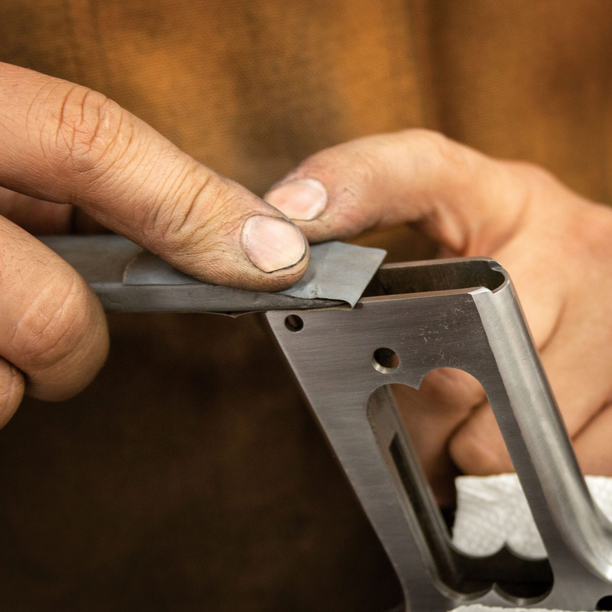 Photo of a Colt Government Model 1911 Commercial, during restoration by Turnbull Restoration