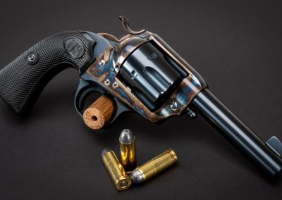 Photo of a Turnbull Finished U.S. Firearms SAA Bisley, featuring bone charcoal color case hardening