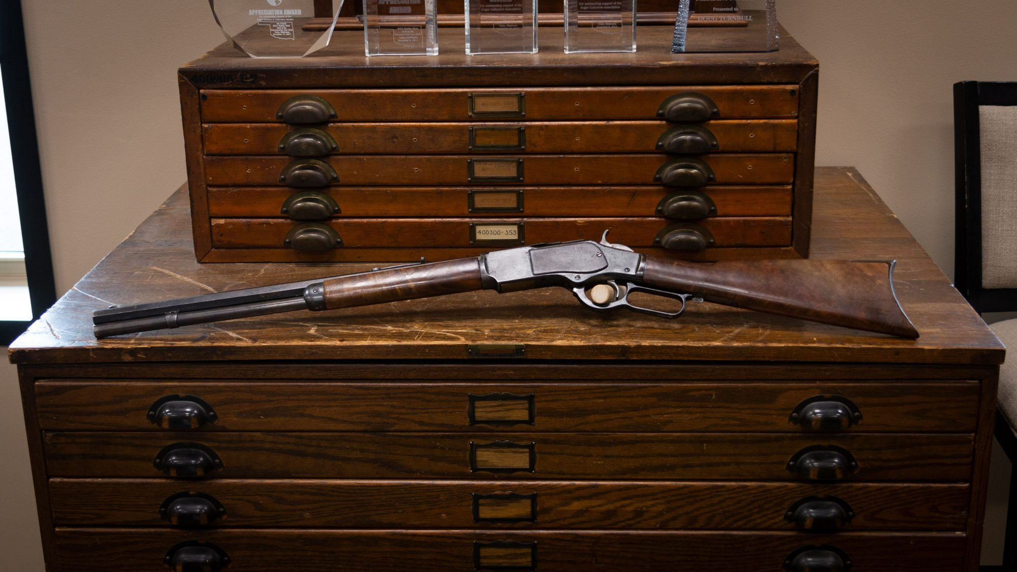 Photo of an antique Winchester Model 1873 from 1892, as sold by Turnbull Restoration in Bloomfield, NY