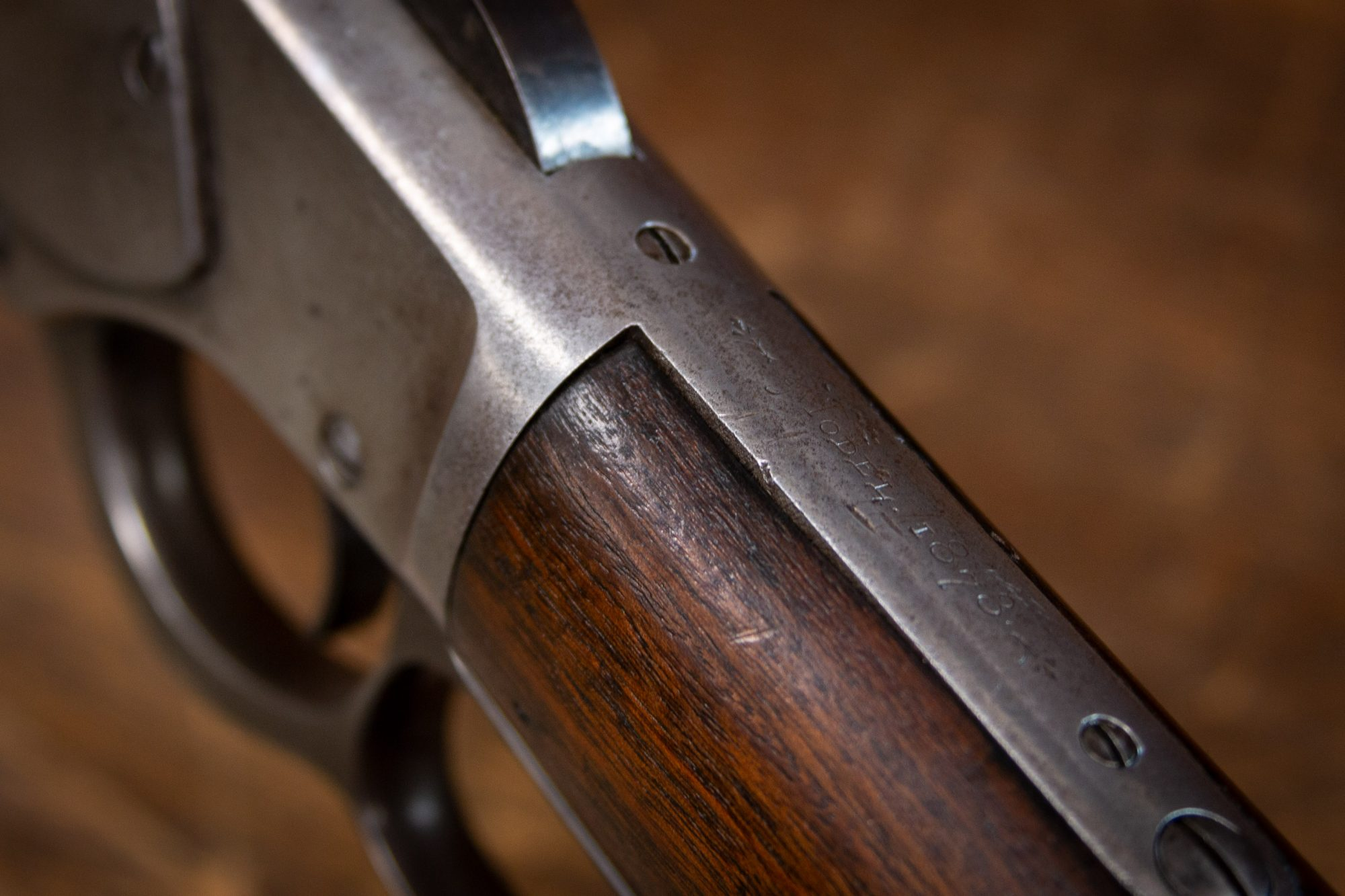 Photo of an antique Winchester Model 1873 from 1887, as sold by Turnbull Restoration in Bloomfield, NY