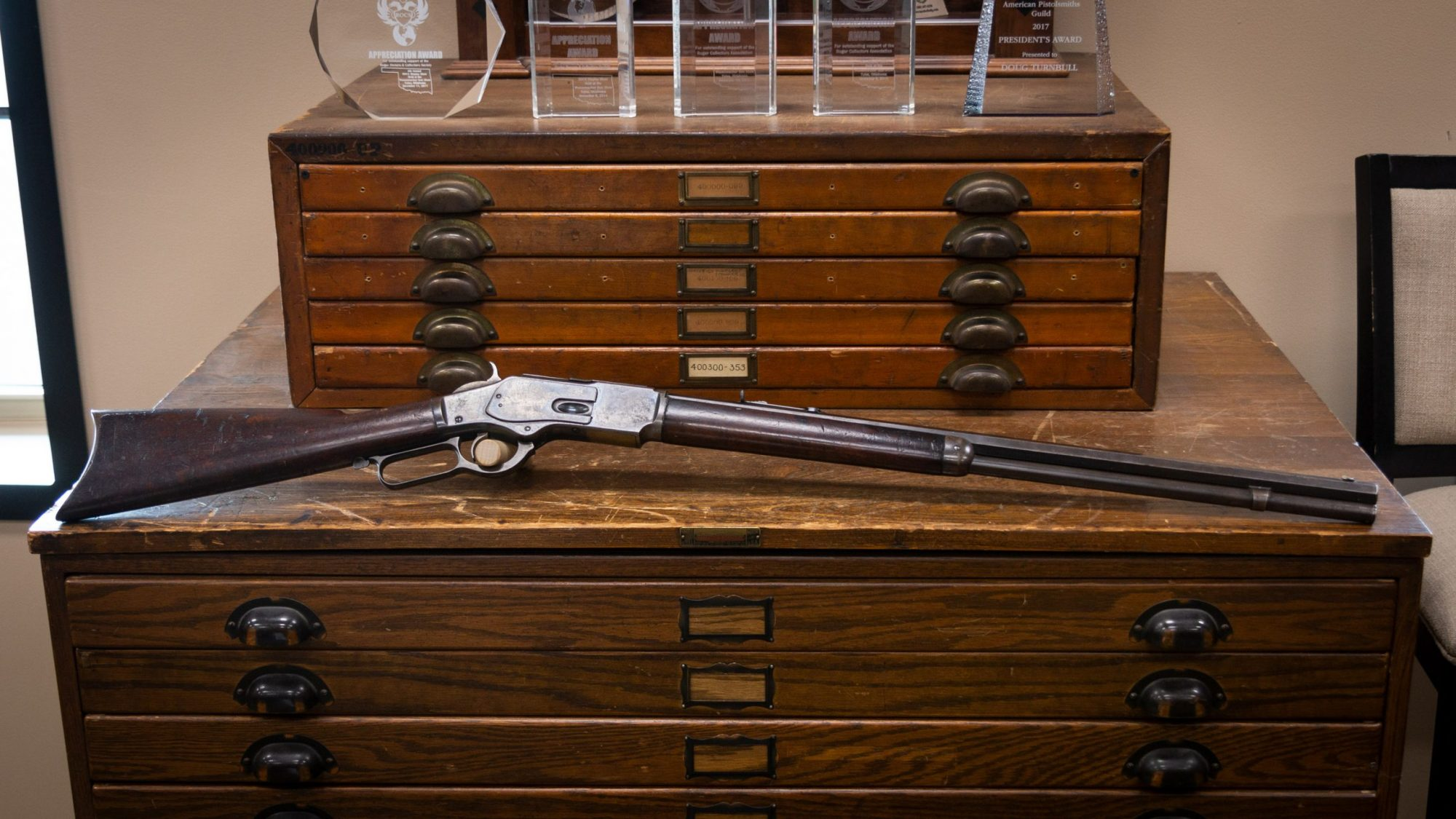 Photo of an antique Winchester Model 1873 from 1891, as sold by Turnbull Restoration in Bloomfield, NY