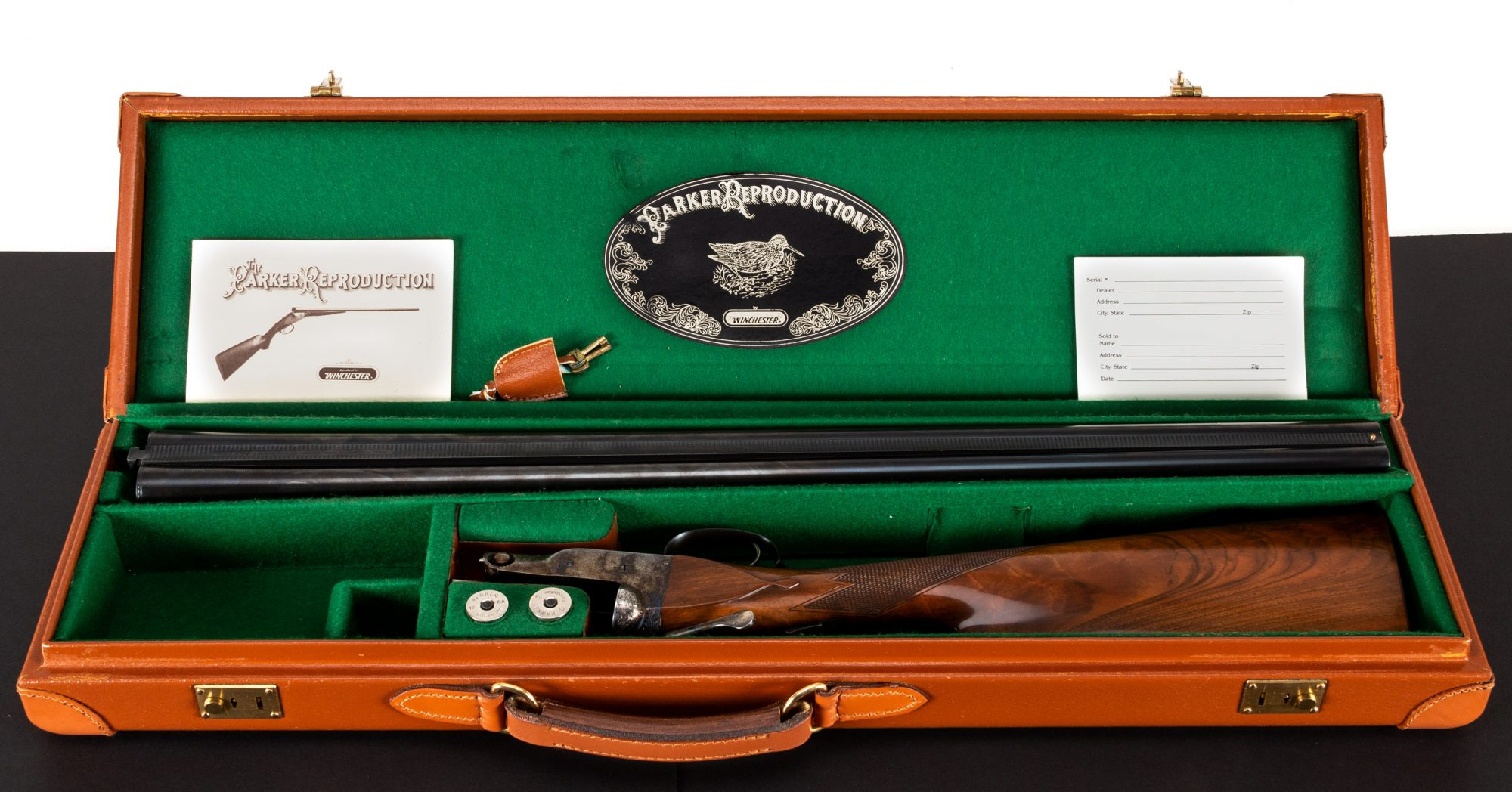 Photo of a pre-owned Parker Reproduction 12 Gauge DHE Steel Shot Special case, for sale by Turnbull Restoration in Bloomfield, NY
