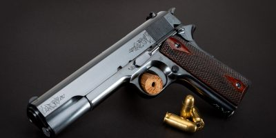 Photo of a new Turnbull Model 1911 WWI, featuring charcoal bluing and engraving