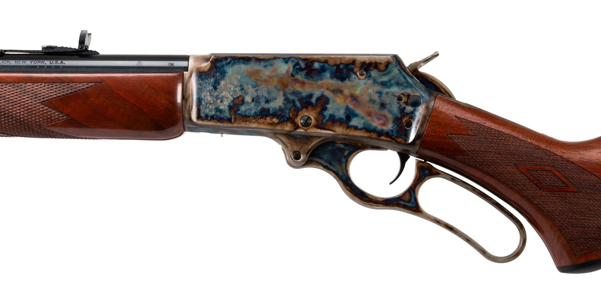 Photo of a Turnbull Finished Marlin 1895, featuring bone charcoal color case hardening