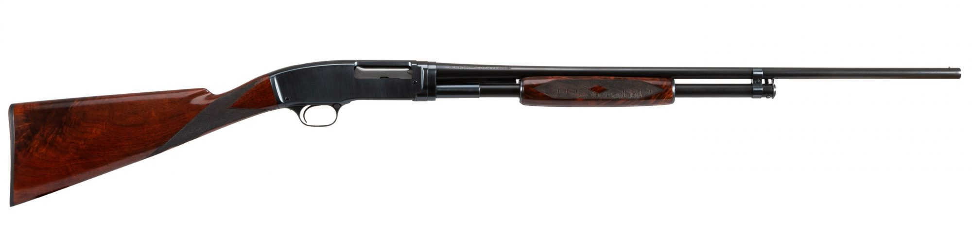 Photo of a Winchester Model 42, restored by Turnbull Restoration and featuring all period-correct finishes including charcoal bluing