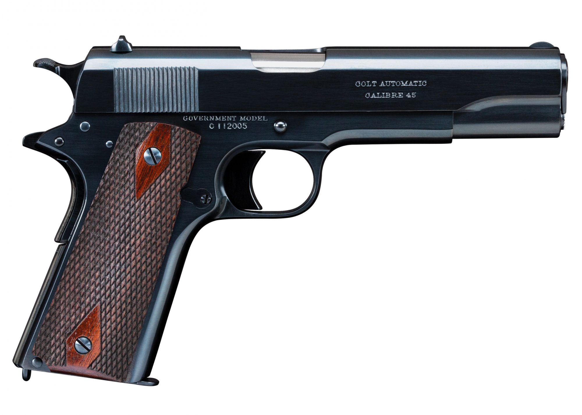 Photo of a Colt Government Model 1911 Commercial, restored by Turnbull Restoration and featuring all period-correct finishes including charcoal bluing