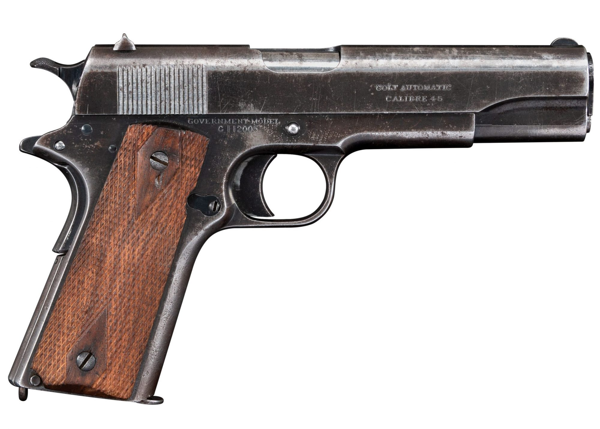 Photo of a Colt Government Model 1911 Commercial, before restoration by Turnbull Restoration