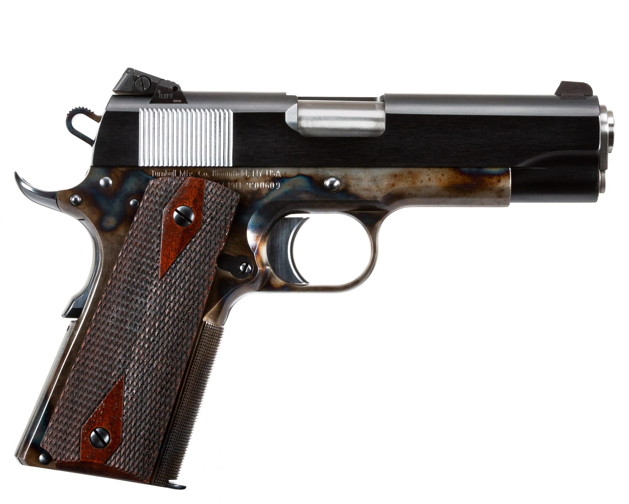 Photo of a new Turnbull Model 1911 Commander, featuring bone charcoal color case hardening
