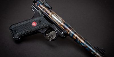 Photo of a Turnbull Finished Ruger Mark IV, featuring bone charcoal color case hardening by Turnbull Restoration of Bloomfield, NY