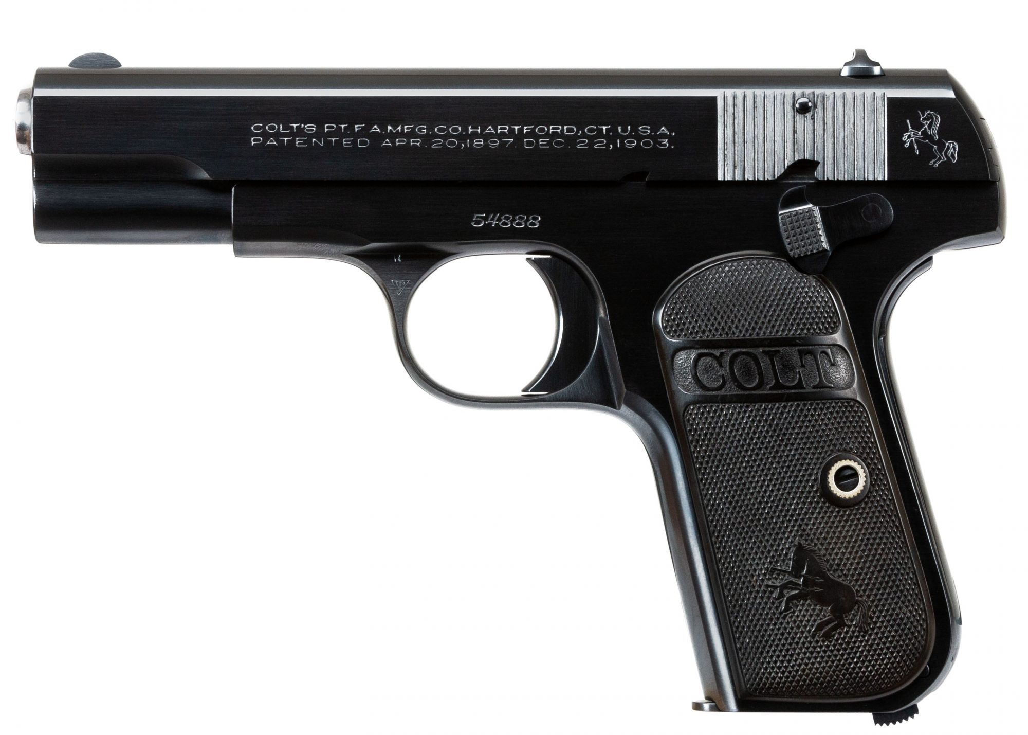 Photo of a restored Colt 1908 Pocket Hammerless, restored by Turnbull Restoration of Bloomfield, NY
