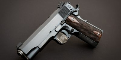 Photo of a Turnbull Model 1911 Commander, featuring traditional charcoal bluing