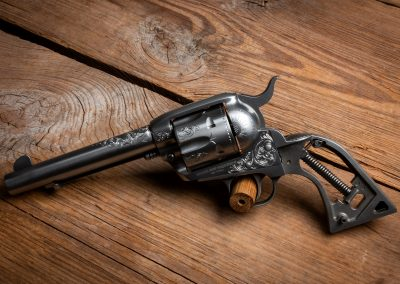 Photo of a Ruger New Vaquero revolver, featuring engraving by Turnbull Restoration of Bloomfield, NY