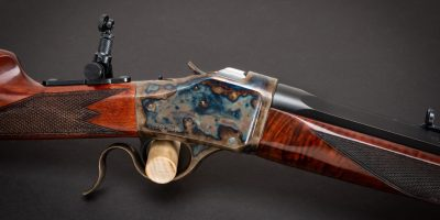 Photo of a Turnbull Finished Winchester 1885 High Wall, featuring restoration grade metal and wood finishes by Turnbull Restoration of Bloomfield, NY