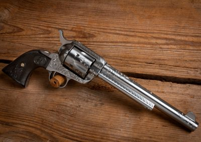 Photo of a new Colt SAA revolver, featuring engraving by Turnbull Restoration of Bloomfield, NY