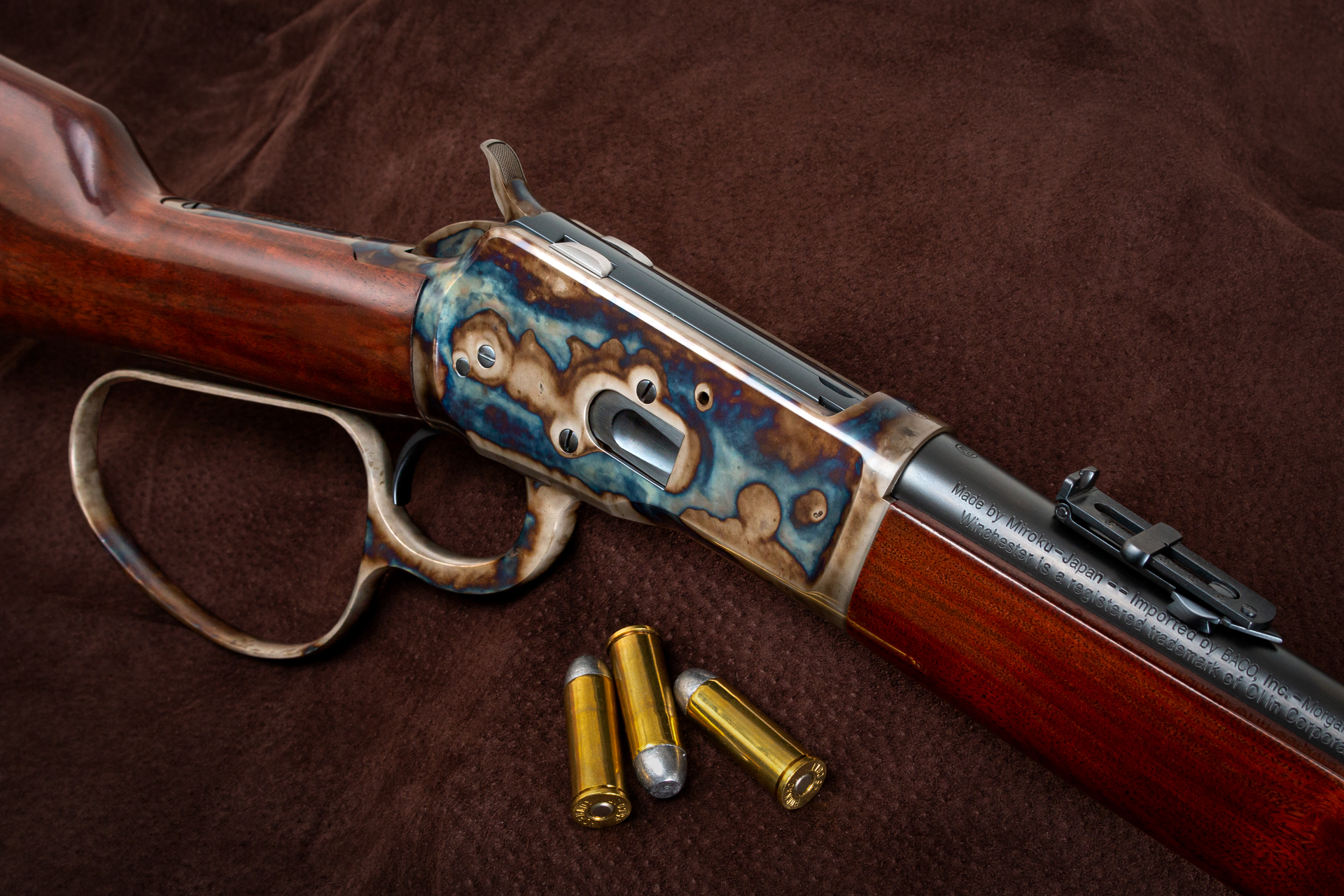 Photo of a Winchester Model 1892 Large Loop Carbine, featuring bone charcoal color case hardening and wood refinishing by Turnbull Restoration