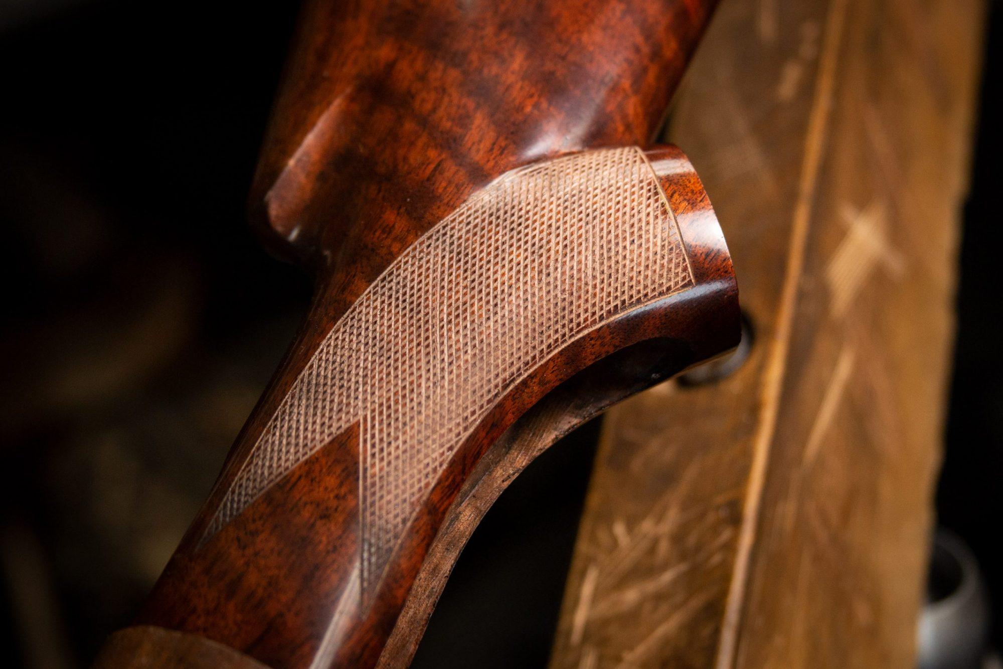 Photo of wood checkering on a restored Winchester Model 71