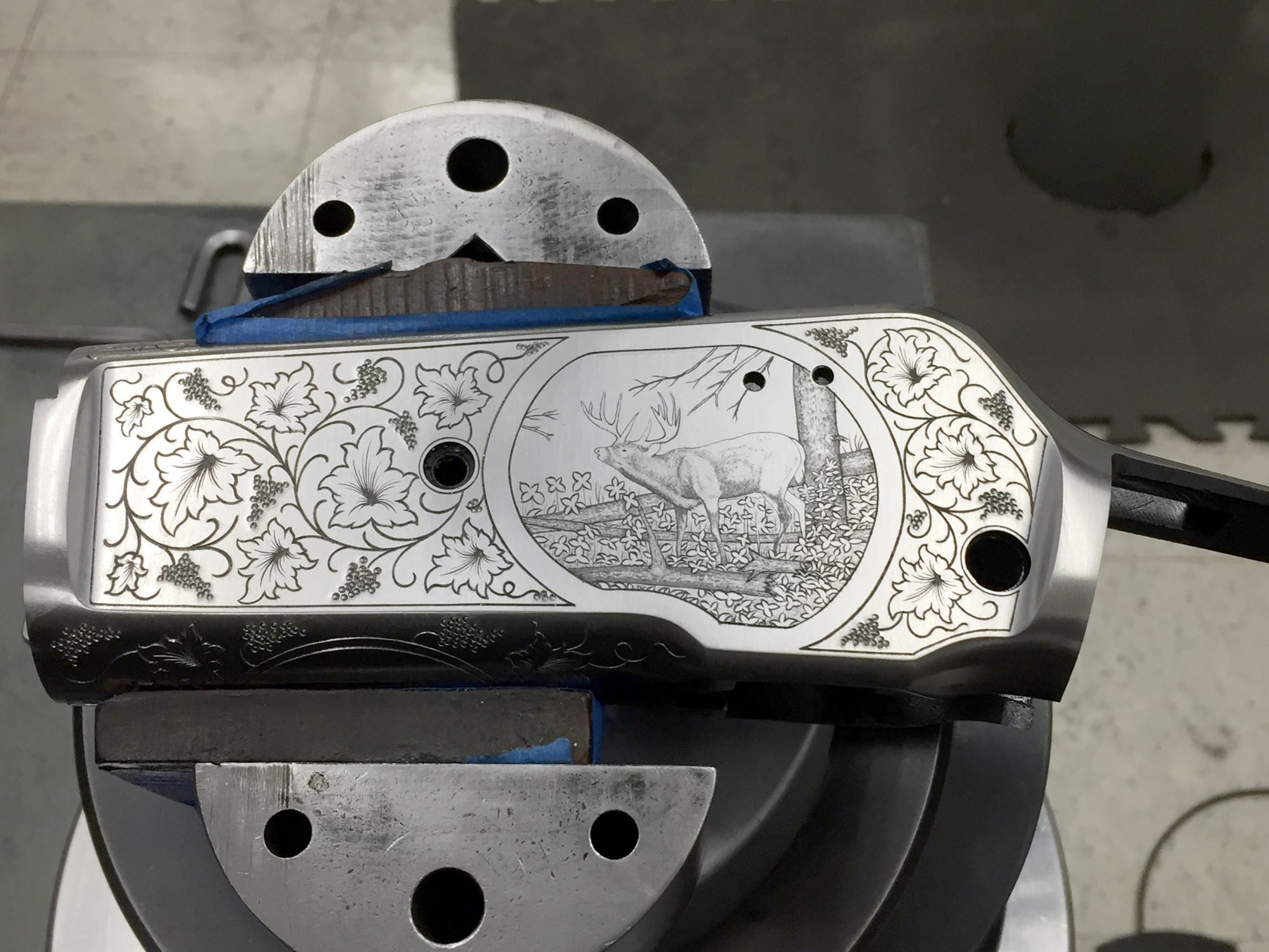 Photo of custom engraving on a Winchester Model 71 receiver