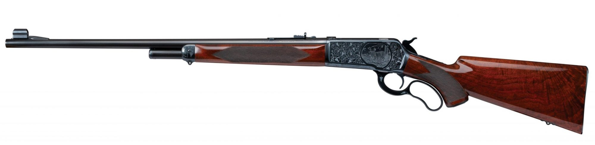 Photo of a restored Winchester Model 71 with custom engraving