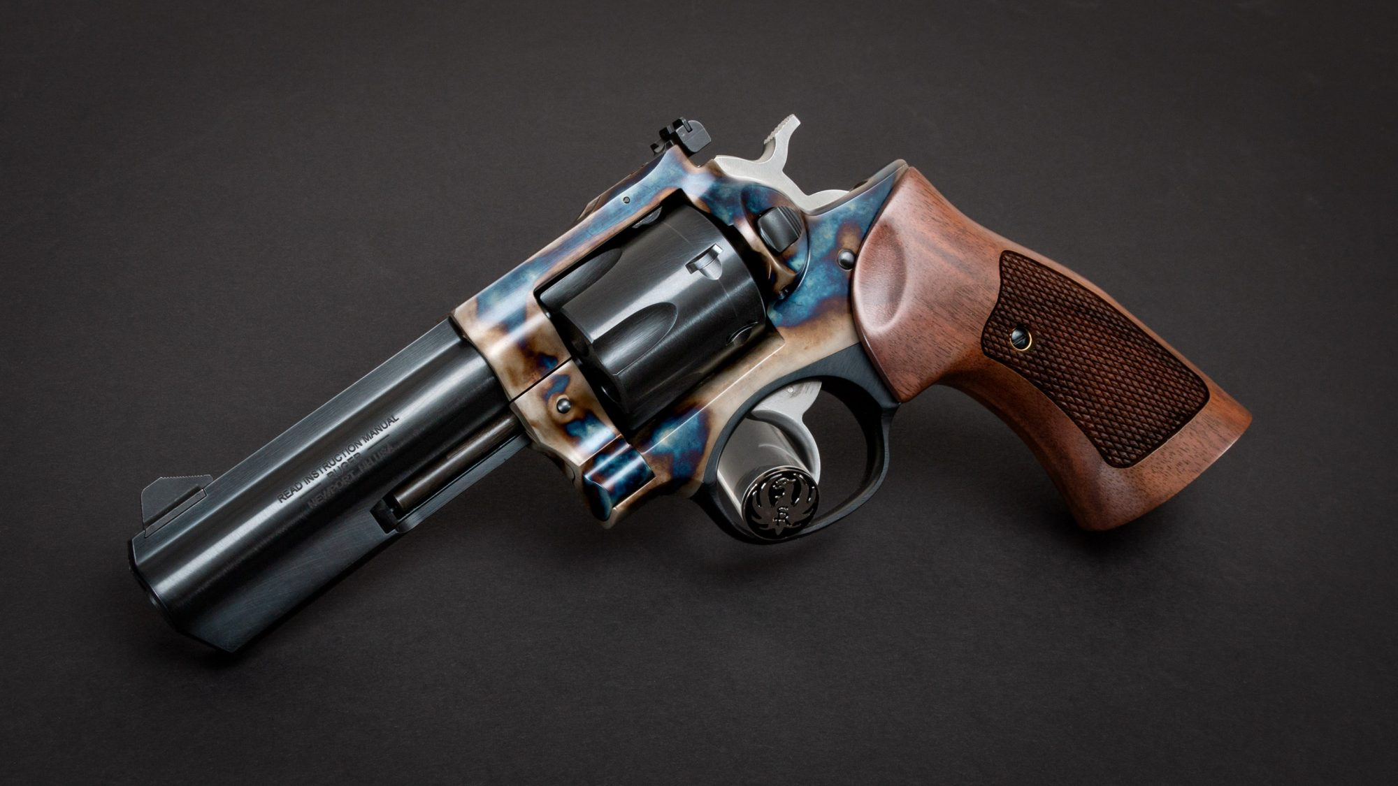 Photo of a Turnbull Finished Ruger GP100 featuring Turnbull color case hardening and Altamont checkered American walnut target grips