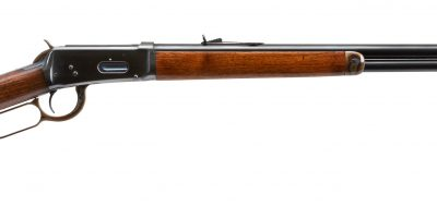 Photo of a Winchester Model 1894 from 1909, featuring color case hardening and charcoal bluing by Turnbull Restoration