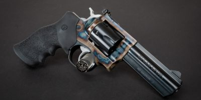 Photo of a Turnbull Finished Ruger GP100 featuring Turnbull color case hardening and Hogue® Monogrip®