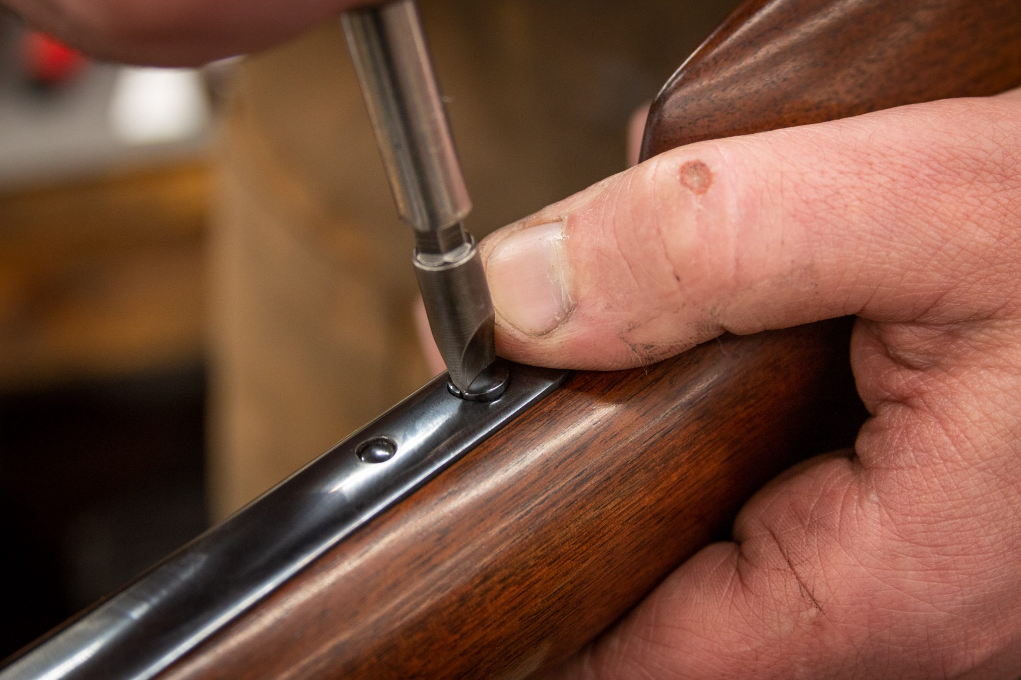 Photo of a rare Colt Model 1855 revolving 20 gauge shotgun during restoration by Turnbull Restoration of Bloomfield, NY