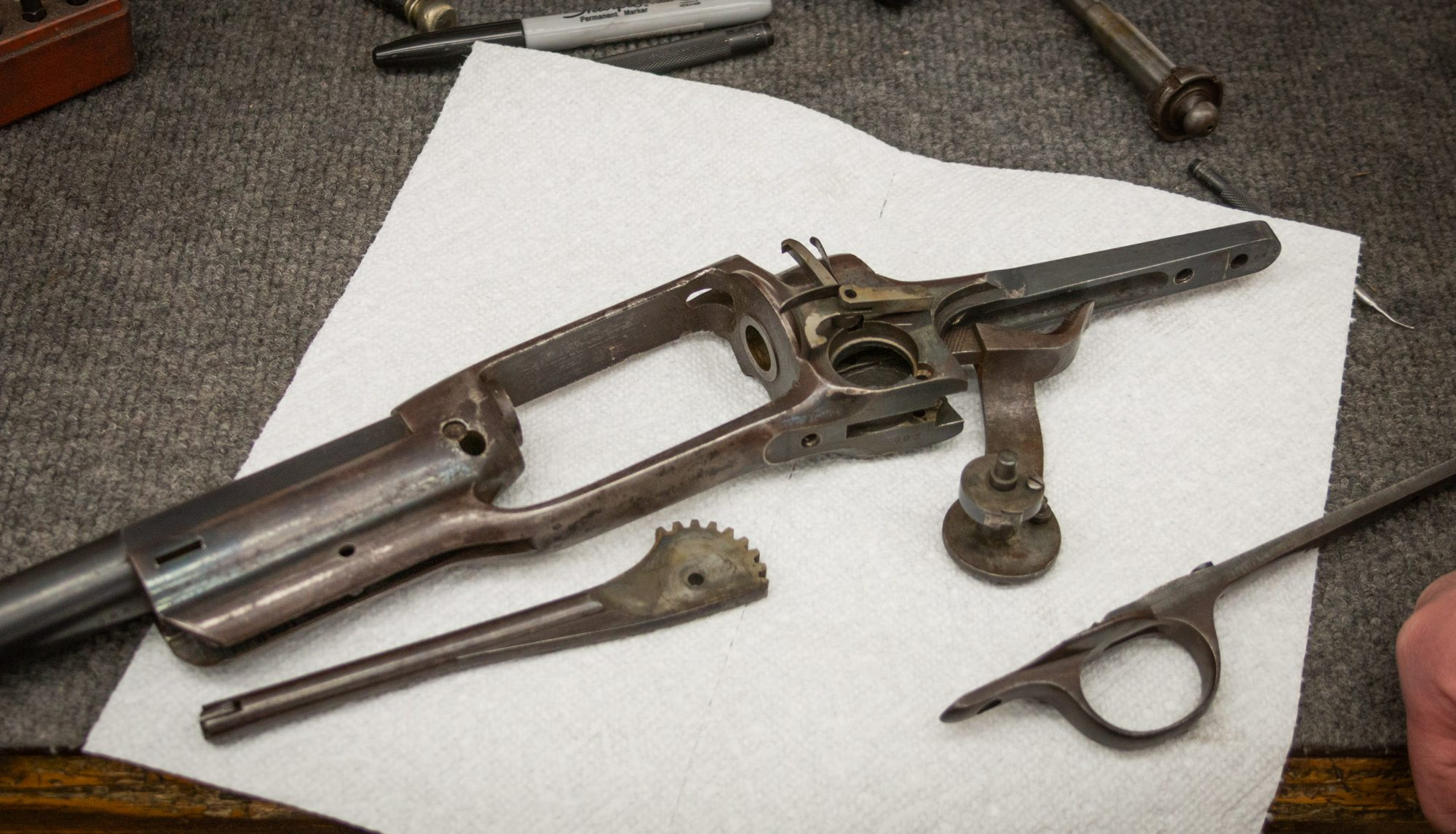 Photo of a rare Colt Model 1855 revolving 20 gauge shotgun before restoration by Turnbull Restoration of Bloomfield, NY
