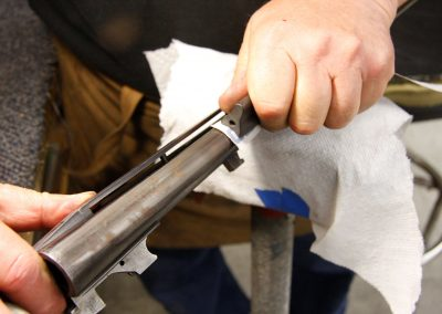 Photo of a Parker BHE 12 gauge shotgun restoration in process at Turnbull Restoration Co.