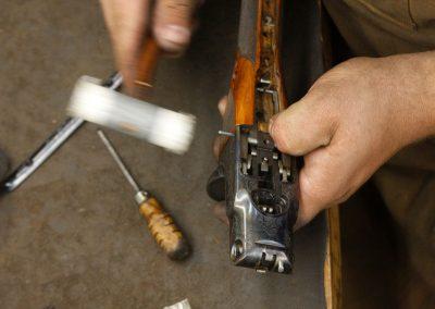 Photo of a Parker BHE 12 gauge shotgun restoration in process at Turnbull Restoration Co.