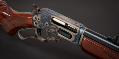 Photo of a Turnbull finished Marlin 1895 featuring bone charcoal color case hardening
