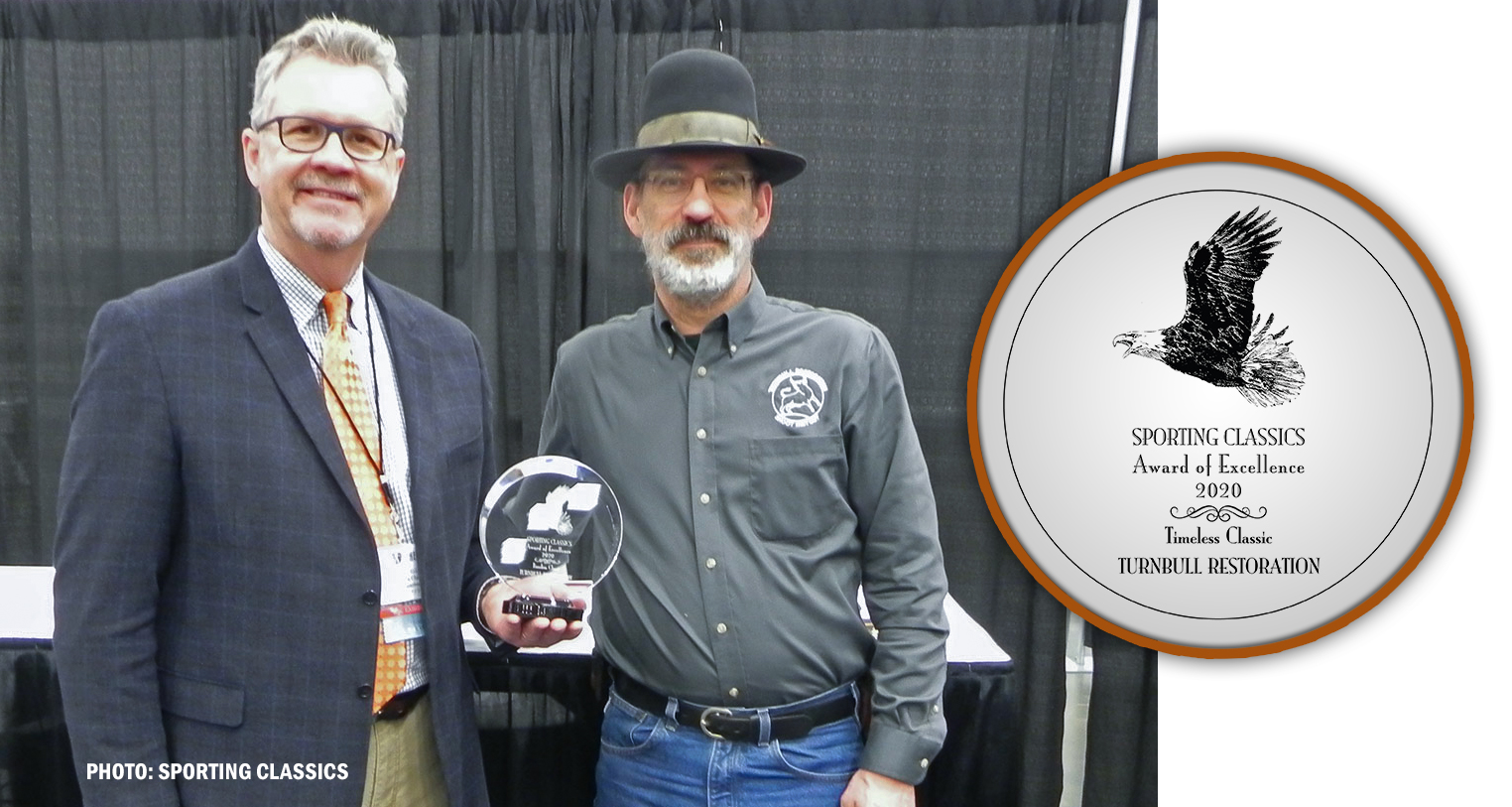 Photo of Doug Turnbull receiving a 2020 Sporting Classics Award of Excellence at the Dallas Safari Club (DSC) annual convention
