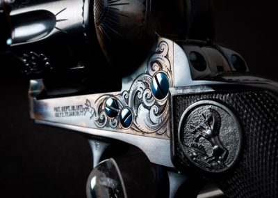 Photo of a Colt Third Generation SAA Revolver, featuring engraving and restoration grade metal finishes by Turnbull Restoration of Bloomfield, NY