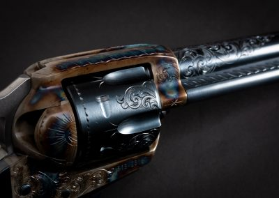 Photo of a Ruger New Vaquero revolver, featuring engraving and restoration grade metal finishes by Turnbull Restoration of Bloomfield, NY