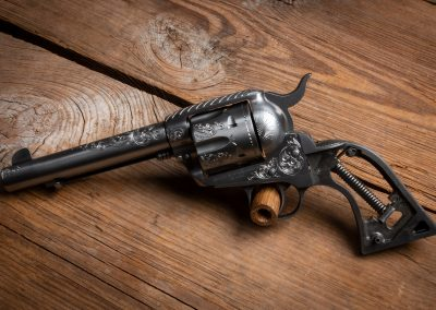Photo of a Ruger New Vaquero Revolver, featuring engraving before metal finishes by Turnbull Restoration of Bloomfield, NY