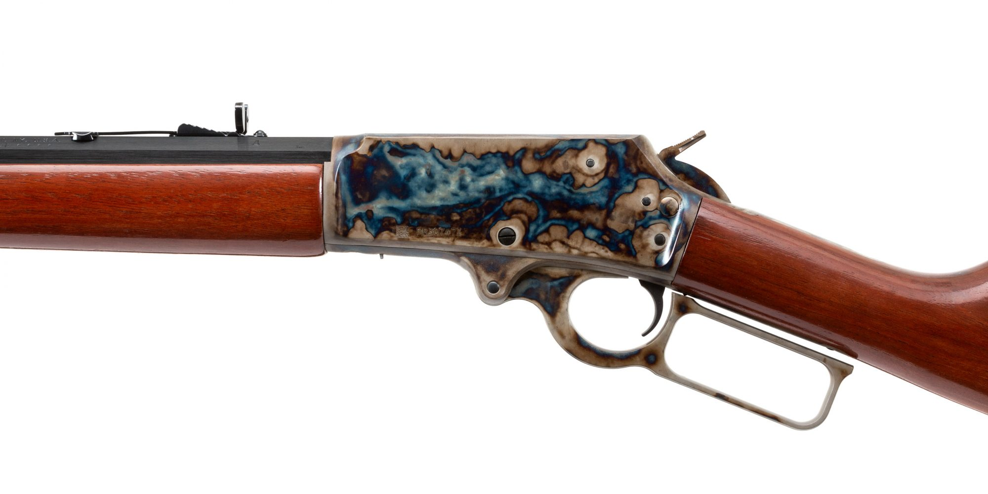 Photo of a Turnbull finished Marlin 1895CB featuring bone charcoal color case hardening