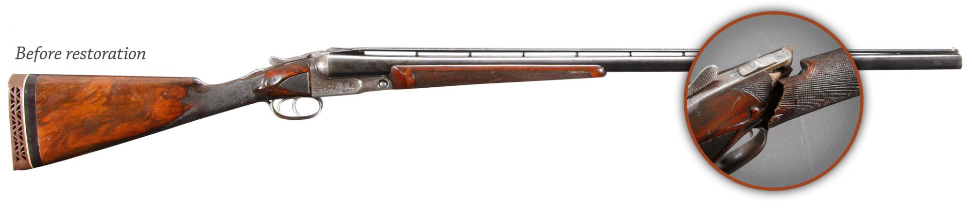Photo of a Parker BHE 12 gauge shotgun before restoration by Turnbull Restoration of Bloomfield, NY