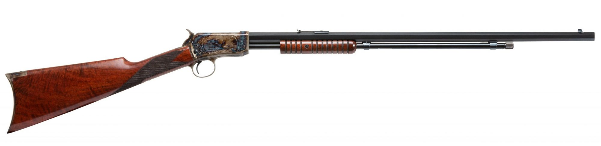 Photo of a restored engraved Winchester Model 1890 rifle by Turnbull Restoration of Bloomfield, NY