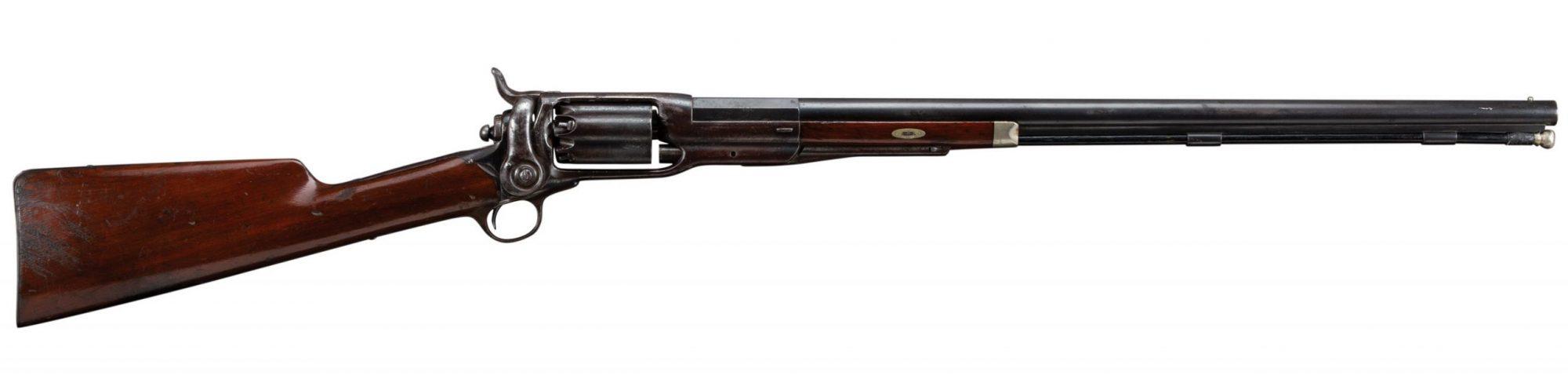 Photo of a rare Colt Model 1855 revolving 20 gauge shotgun before restoration by Turnbull Restoration of Bloomfield, NY