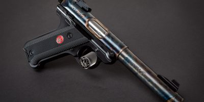 Photo of a Turnbull finished Ruger Mark IV featuring bone charcoal color case hardening