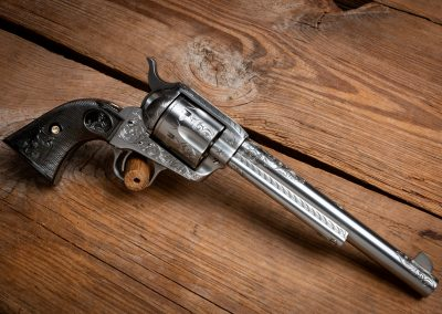 Photo of a Colt Third Generation SAA Revolver, featuring engraving before metal finishes by Turnbull Restoration of Bloomfield, NY