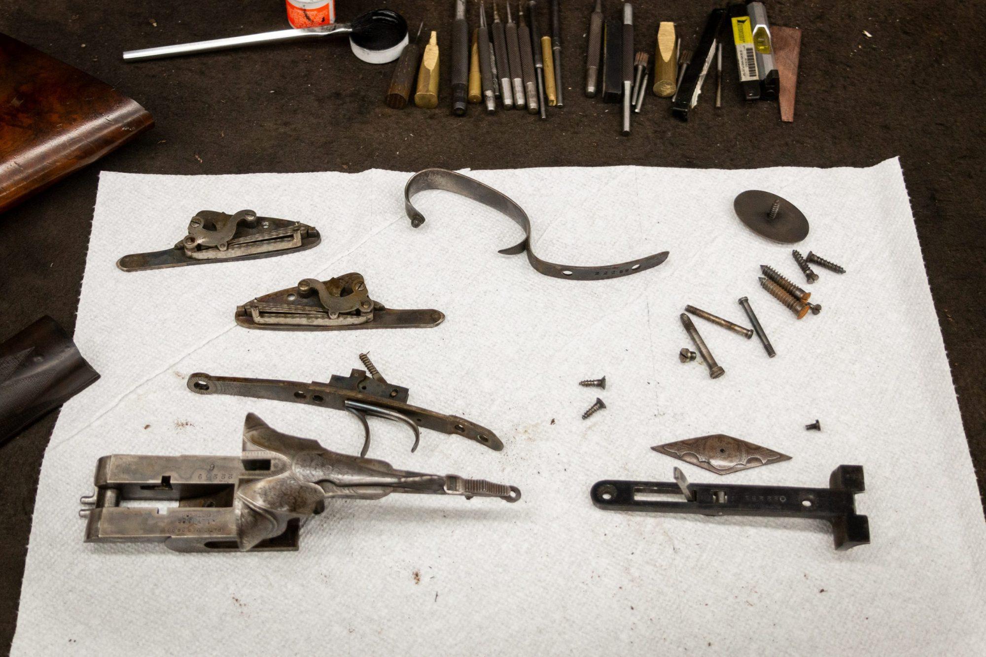 Photo of an L.C. Smith 10 gauge shotgun undergoing restoration, by Turnbull Restoration of Bloomfield, NY